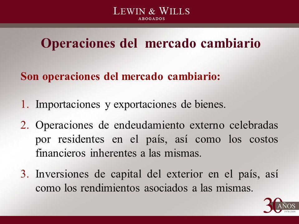 Son operaciones del mercado cambiario: Operaciones del mercado cambiario 1.Importaciones y exportaciones de bienes.
