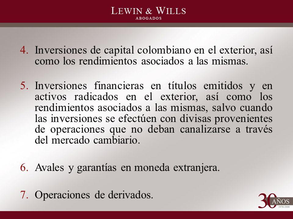 4.Inversiones de capital colombiano en el exterior, así como los rendimientos asociados a las mismas.