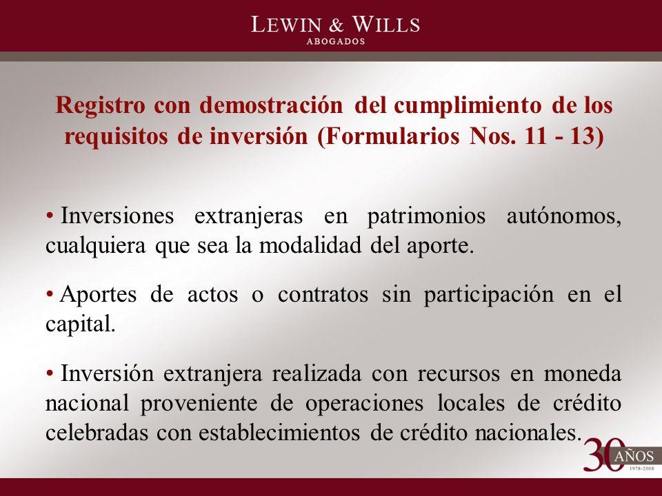 Registro con demostración del cumplimiento de los requisitos de inversión (Formularios Nos.
