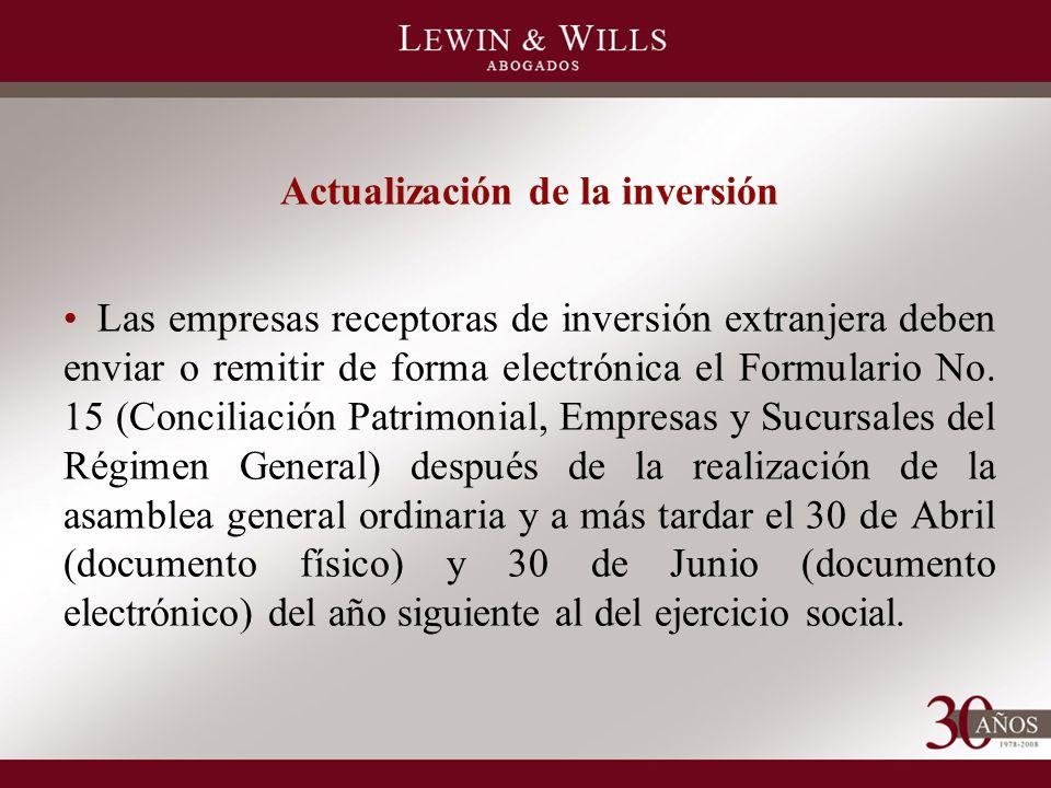 Actualización de la inversión Las empresas receptoras de inversión extranjera deben enviar o remitir de forma electrónica el Formulario No.