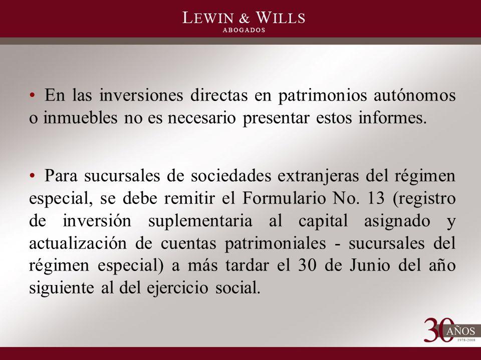 En las inversiones directas en patrimonios autónomos o inmuebles no es necesario presentar estos informes.