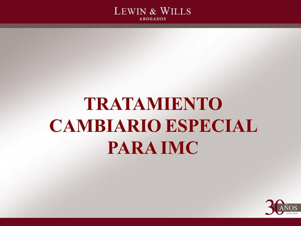 TRATAMIENTO CAMBIARIO ESPECIAL PARA IMC