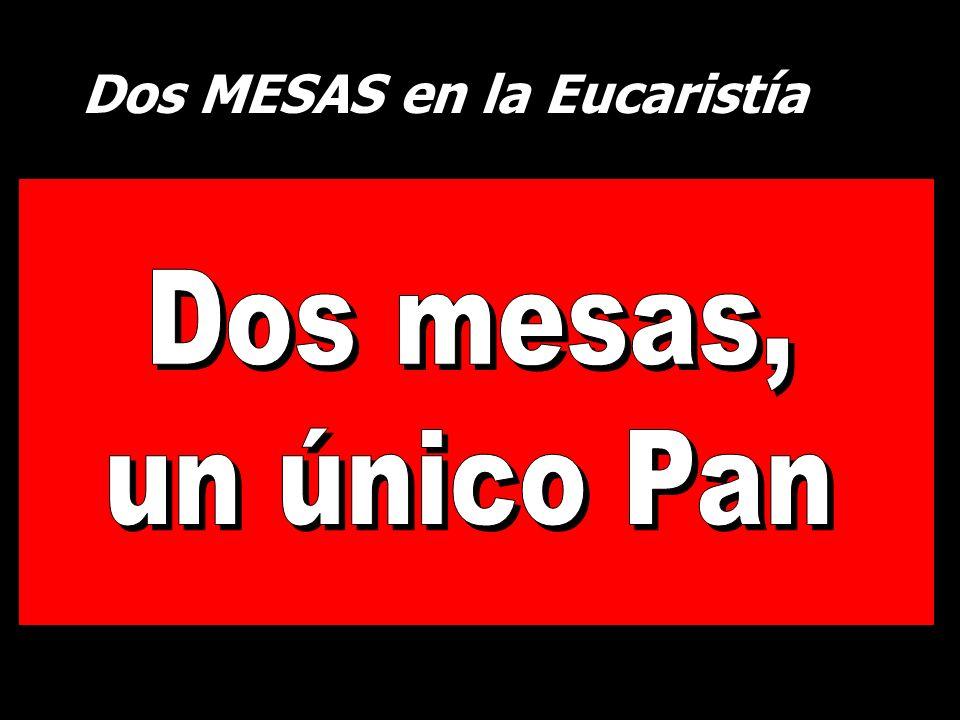 Dos MESAS en la Eucaristía La mesa del PAN La mesa de la PALABRA