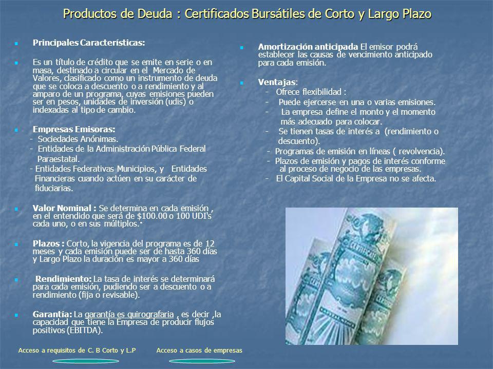 Productos de Deuda : Certificados Bursátiles de Corto y Largo Plazo Principales Características: Es un título de crédito que se emite en serie o en ma