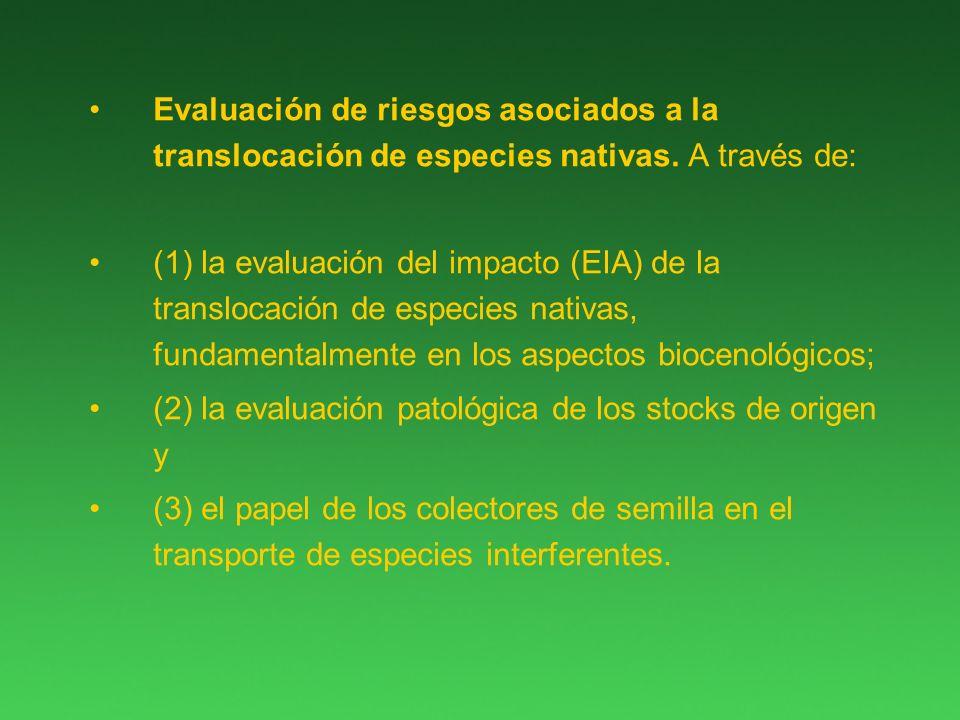Evaluación de riesgos asociados a la translocación de especies nativas.