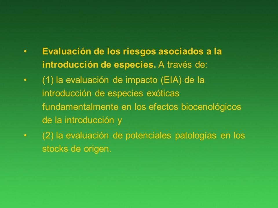 Evaluación de los riesgos asociados a la introducción de especies.