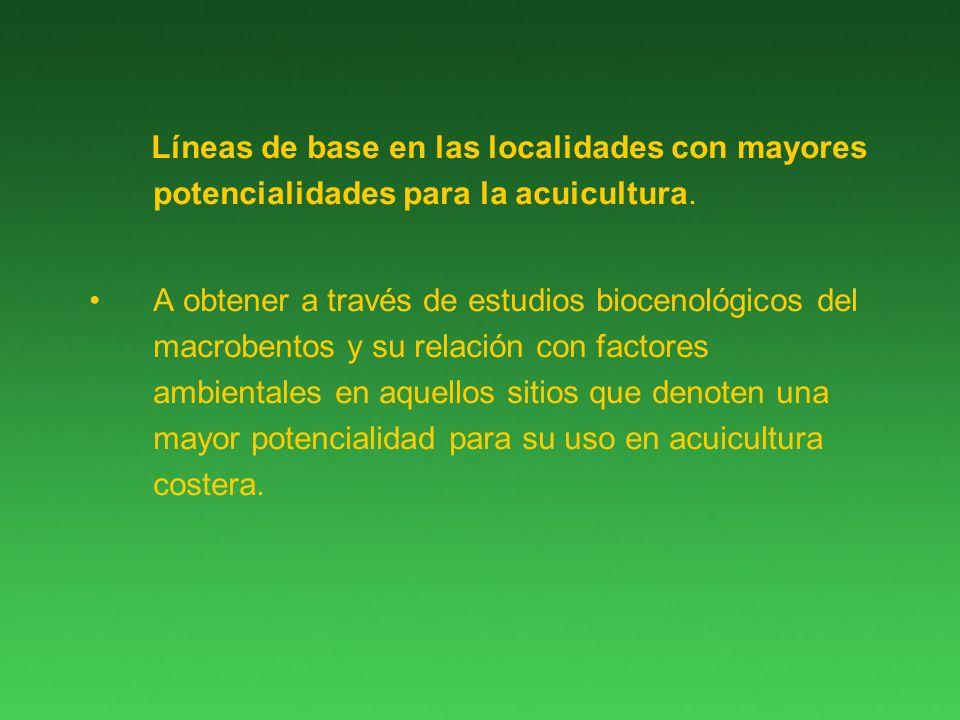 Líneas de base en las localidades con mayores potencialidades para la acuicultura.