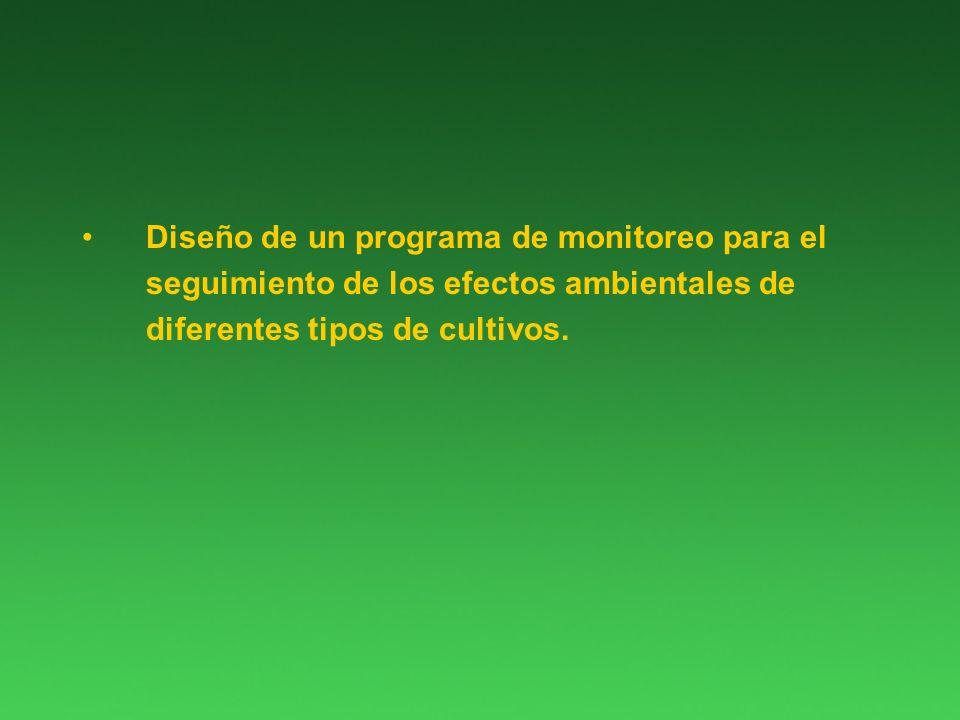 Diseño de un programa de monitoreo para el seguimiento de los efectos ambientales de diferentes tipos de cultivos.