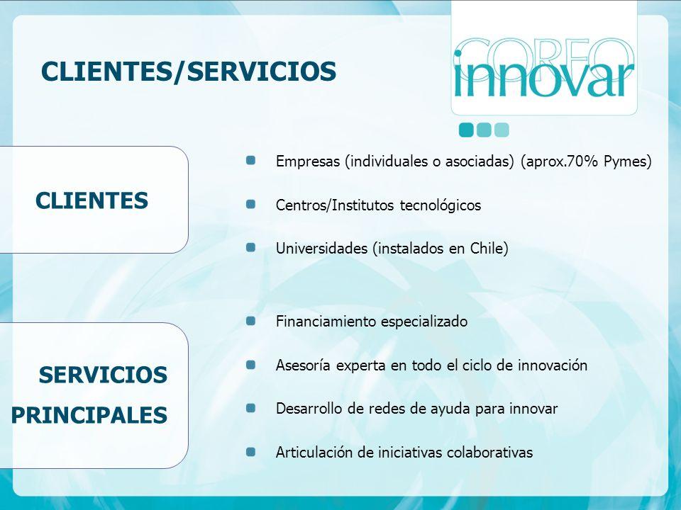 CLIENTES/SERVICIOS CLIENTES SERVICIOS PRINCIPALES Empresas (individuales o asociadas) (aprox.70% Pymes) Centros/Institutos tecnológicos Universidades (instalados en Chile) Financiamiento especializado Asesoría experta en todo el ciclo de innovación Desarrollo de redes de ayuda para innovar Articulación de iniciativas colaborativas