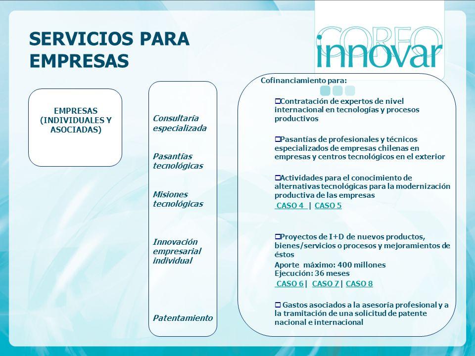SERVICIOS PARA EMPRESAS Cofinanciamiento para: Contratación de expertos de nivel internacional en tecnologías y procesos productivos Pasantías de prof