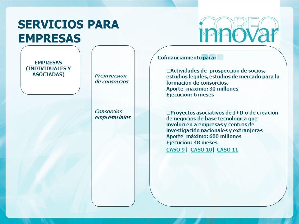 SERVICIOS PARA EMPRESAS Preinversión de consorcios Consorcios empresariales EMPRESAS (INDIVIDUALES Y ASOCIADAS) Cofinanciamiento para: Actividades de