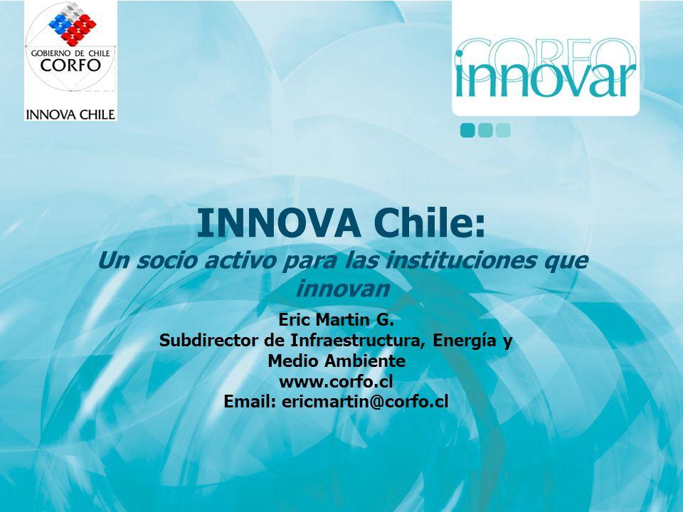 INNOVA Chile: Un socio activo para las instituciones que innovan Eric Martin G. Subdirector de Infraestructura, Energía y Medio Ambiente www.corfo.cl
