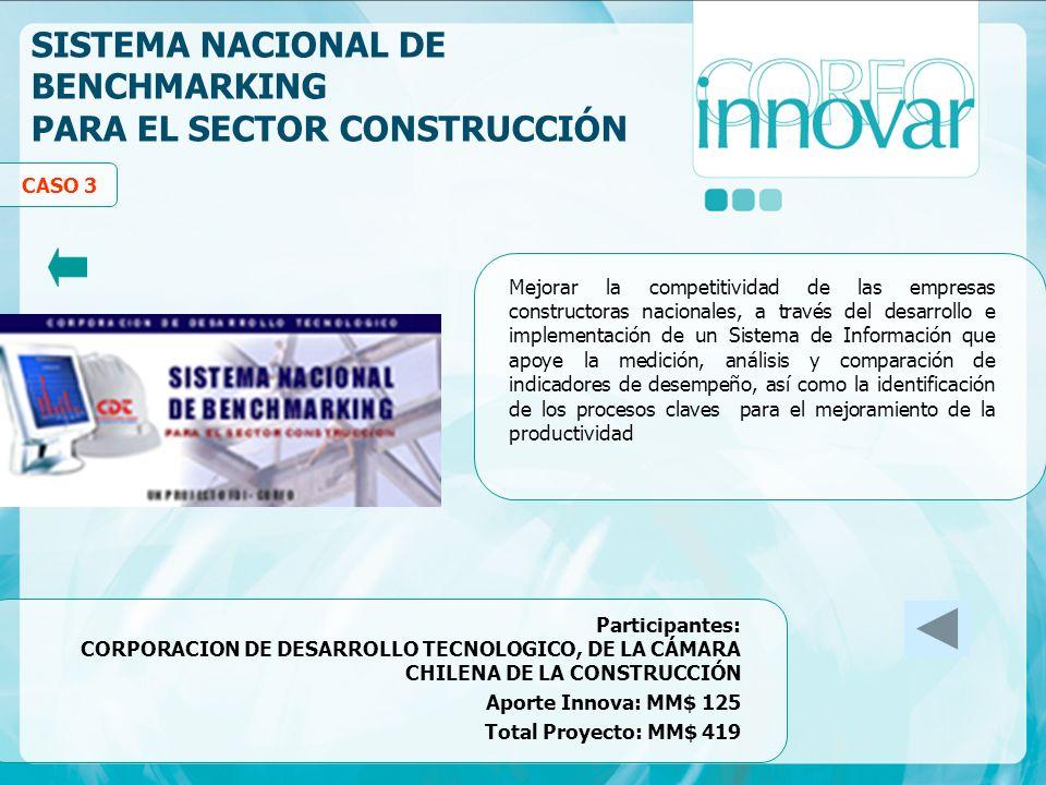 SISTEMA NACIONAL DE BENCHMARKING PARA EL SECTOR CONSTRUCCIÓN Mejorar la competitividad de las empresas constructoras nacionales, a través del desarrol
