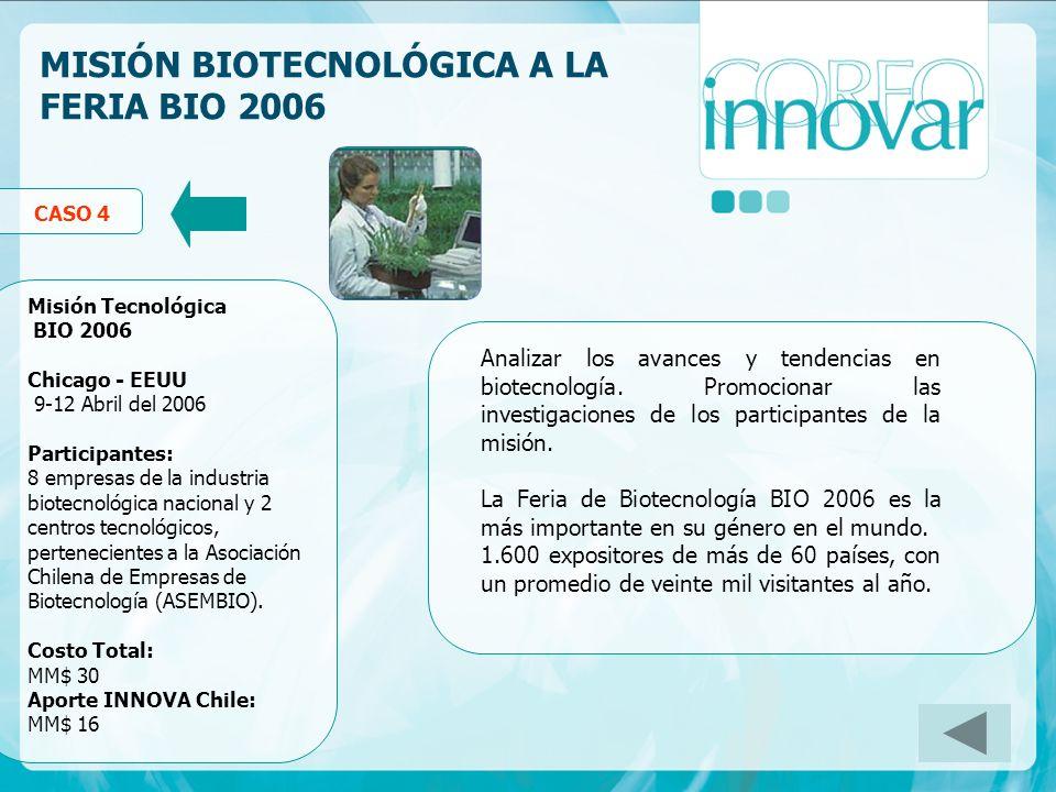 MISIÓN BIOTECNOLÓGICA A LA FERIA BIO 2006 Analizar los avances y tendencias en biotecnología. Promocionar las investigaciones de los participantes de