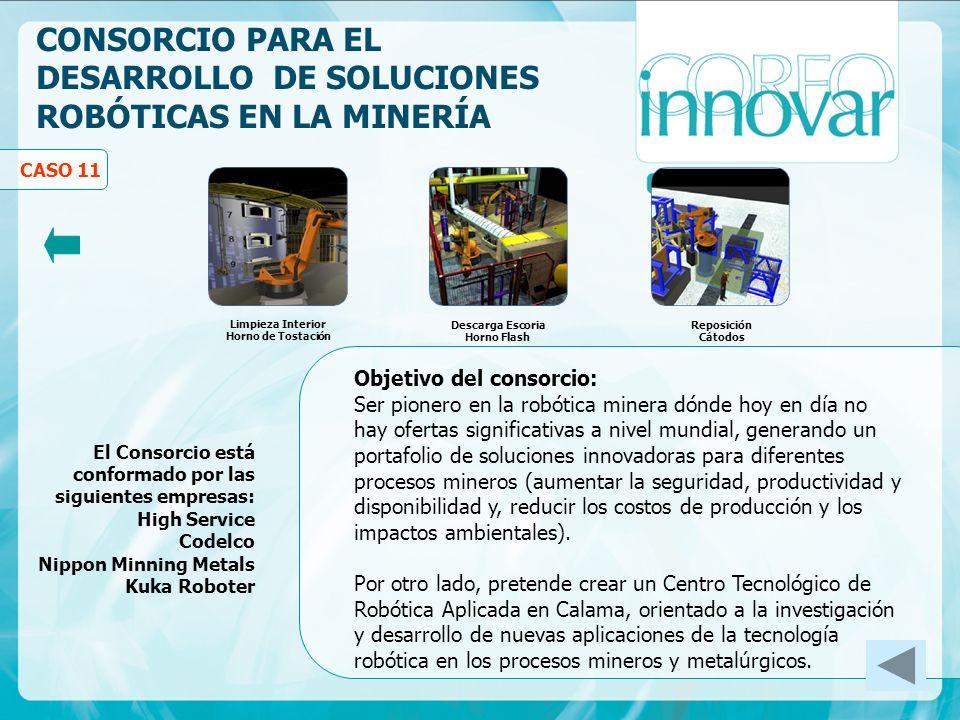 CONSORCIO PARA EL DESARROLLO DE SOLUCIONES ROBÓTICAS EN LA MINERÍA Objetivo del consorcio: Ser pionero en la robótica minera dónde hoy en día no hay o