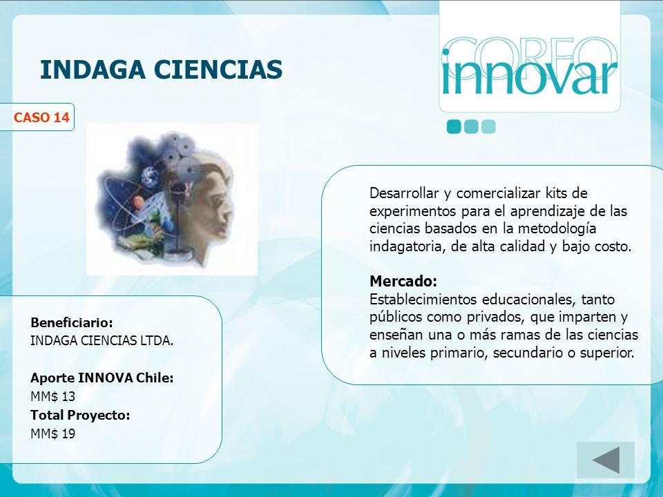 INDAGA CIENCIAS CASO 14 Desarrollar y comercializar kits de experimentos para el aprendizaje de las ciencias basados en la metodología indagatoria, de