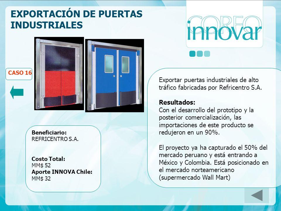EXPORTACIÓN DE PUERTAS INDUSTRIALES CASO 16 Beneficiario: REFRICENTRO S.A.
