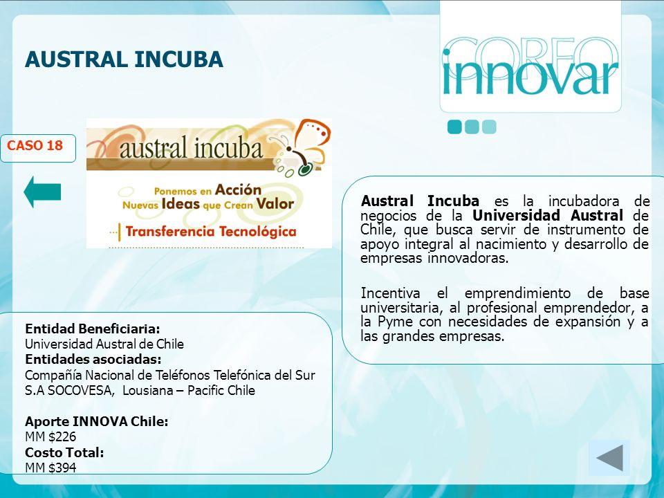 AUSTRAL INCUBA CASO 18 Austral Incuba es la incubadora de negocios de la Universidad Austral de Chile, que busca servir de instrumento de apoyo integral al nacimiento y desarrollo de empresas innovadoras.