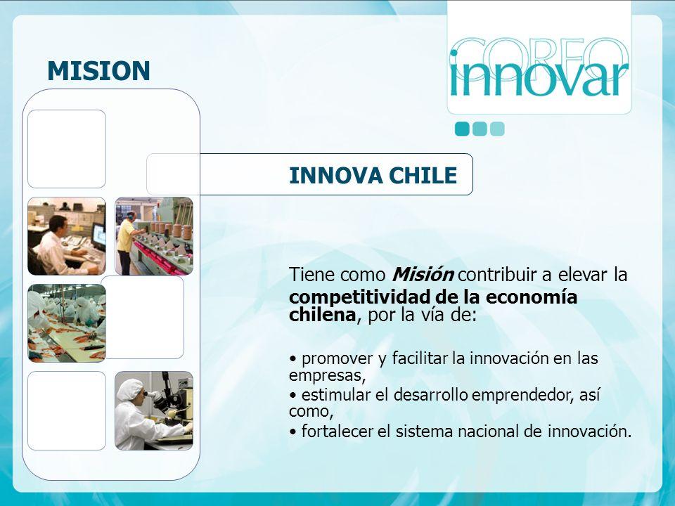 Tiene como Misión contribuir a elevar la competitividad de la economía chilena, por la vía de: promover y facilitar la innovación en las empresas, estimular el desarrollo emprendedor, así como, fortalecer el sistema nacional de innovación.