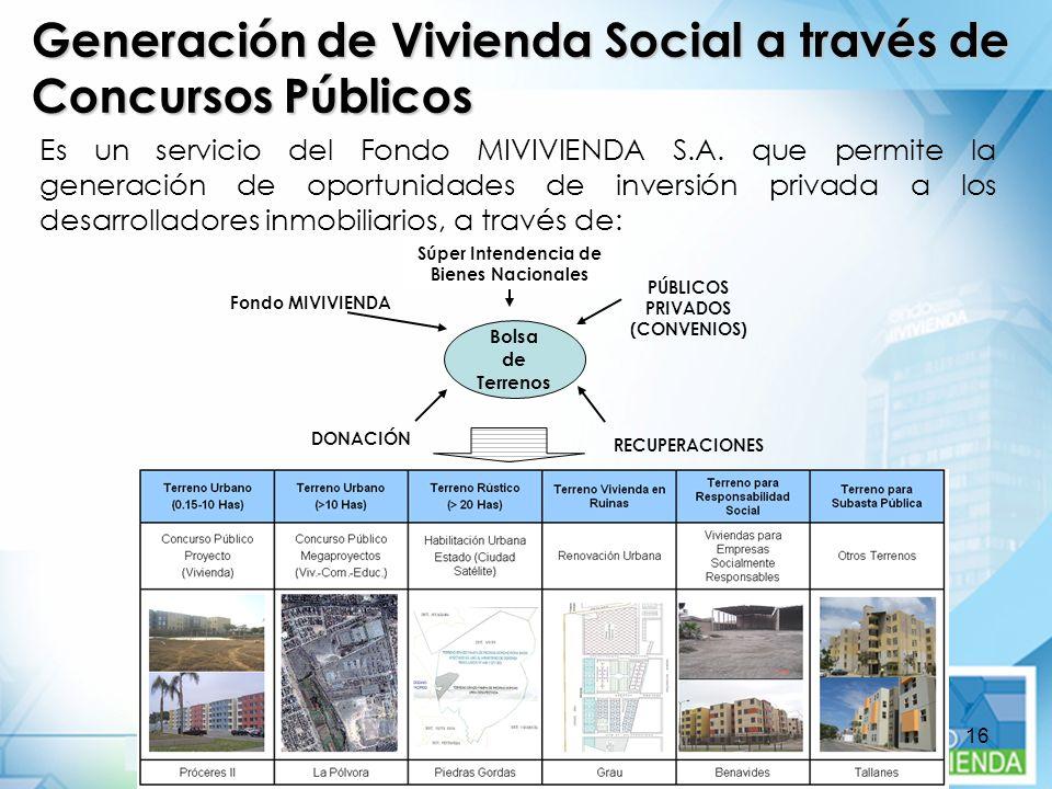 16 Es un servicio del Fondo MIVIVIENDA S.A. que permite la generación de oportunidades de inversión privada a los desarrolladores inmobiliarios, a tra