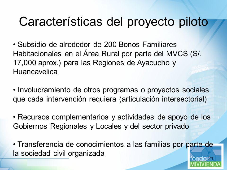 21 Características del proyecto piloto Subsidio de alrededor de 200 Bonos Familiares Habitacionales en el Área Rural por parte del MVCS (S/. 17,000 ap