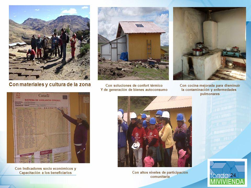 24 Con materiales y cultura de la zona Con soluciones de confort térmico Y de generación de bienes autoconsumo Con altos niveles de participación comu