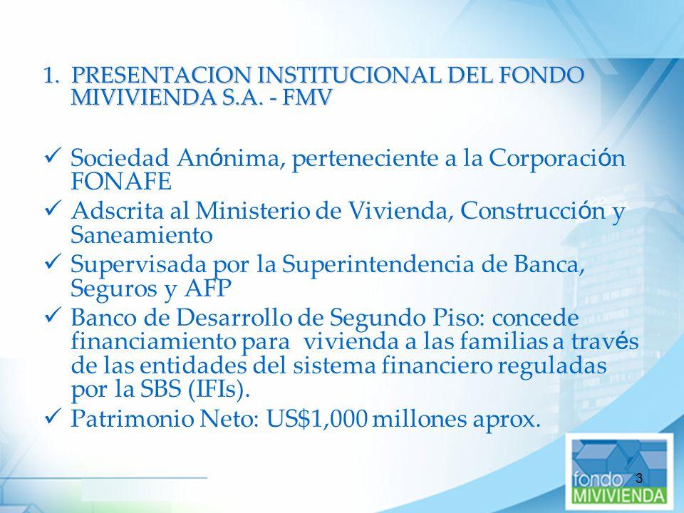 3 1. PRESENTACION INSTITUCIONAL DEL FONDO MIVIVIENDA S.A. - FMV Sociedad An ó nima, perteneciente a la Corporaci ó n FONAFE Adscrita al Ministerio de