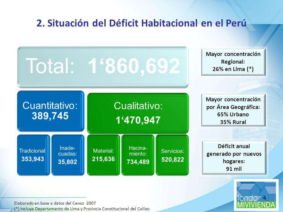 4 Elaborado en base a datos del Censo 2007 (*) Incluye Departamento de Lima y Provincia Constitucional del Callao Mayor concentración Regional: 26% en