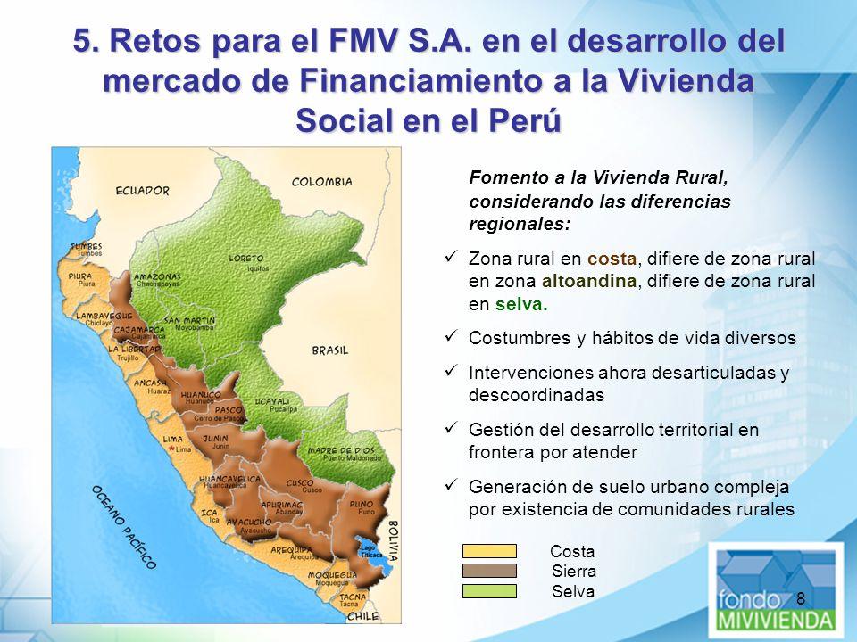 8 5. Retos para el FMV S.A. en el desarrollo del mercado de Financiamiento a la Vivienda Social en el Perú Fomento a la Vivienda Rural, considerando l