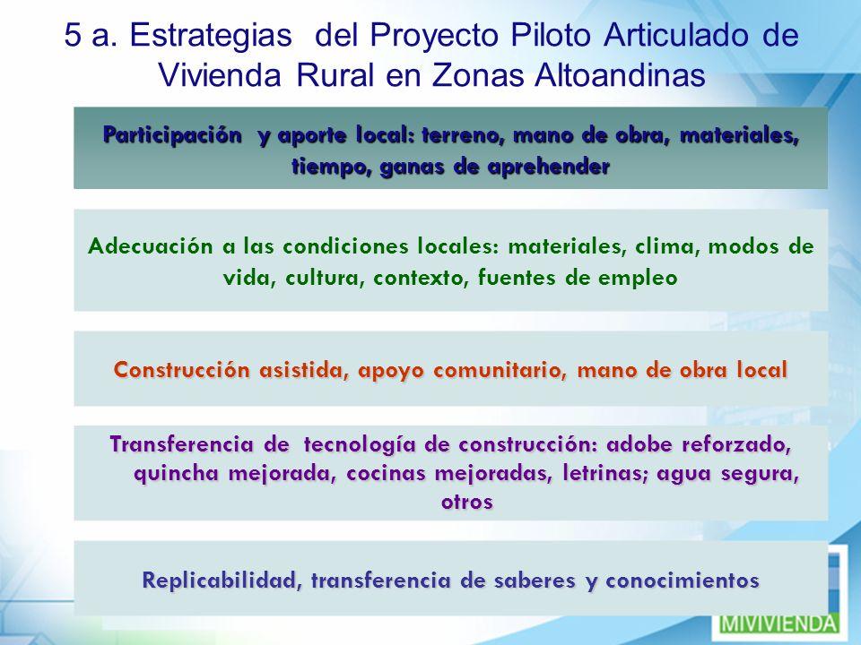 9 5 a. Estrategias del Proyecto Piloto Articulado de Vivienda Rural en Zonas Altoandinas Construcción asistida, apoyo comunitario, mano de obra local