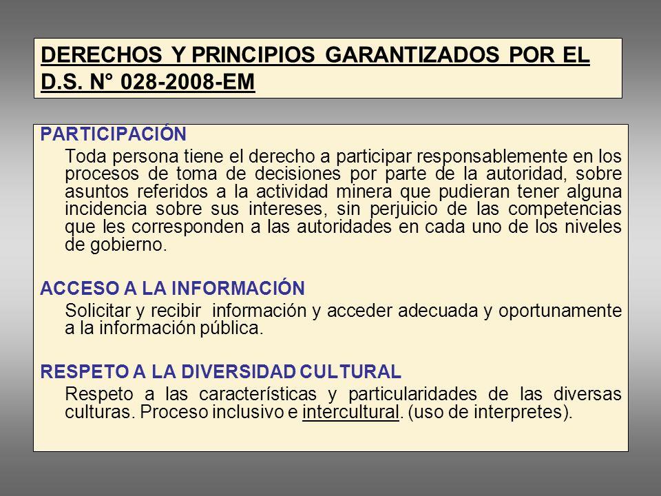 LEY GENERAL DEL AMBIENTE Ley N° 28611 -Dispone que la la Participación Ciudadana se ejerce, entre otros procesos, a través del monitoreo ambiental.
