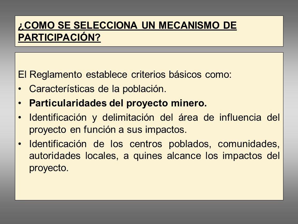 ¿COMO SE SELECCIONA UN MECANISMO DE PARTICIPACIÓN.