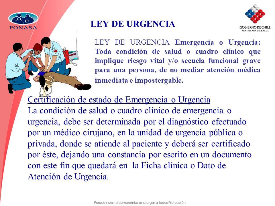 LEY DE URGENCIA Emergencia o Urgencia: Toda condición de salud o cuadro clínico que implique riesgo vital y/o secuela funcional grave para una persona
