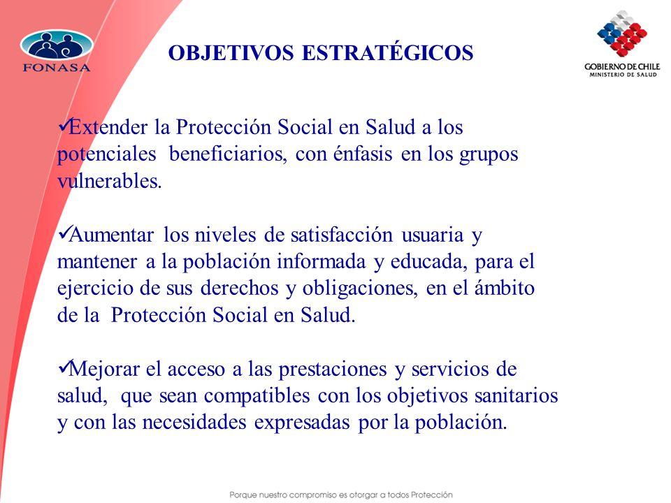 OBJETIVOS ESTRATÉGICOS Extender la Protección Social en Salud a los potenciales beneficiarios, con énfasis en los grupos vulnerables. Aumentar los niv