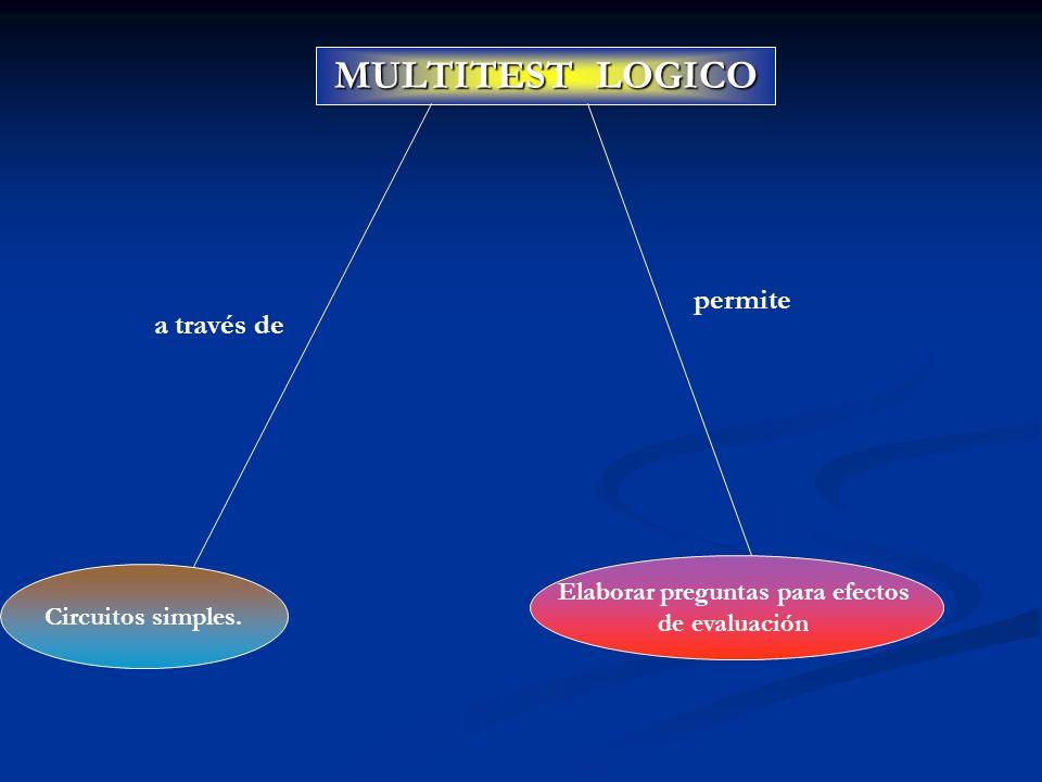 MULTITEST LOGICO Circuitos simples. a través de Elaborar preguntas para efectos de evaluación permite