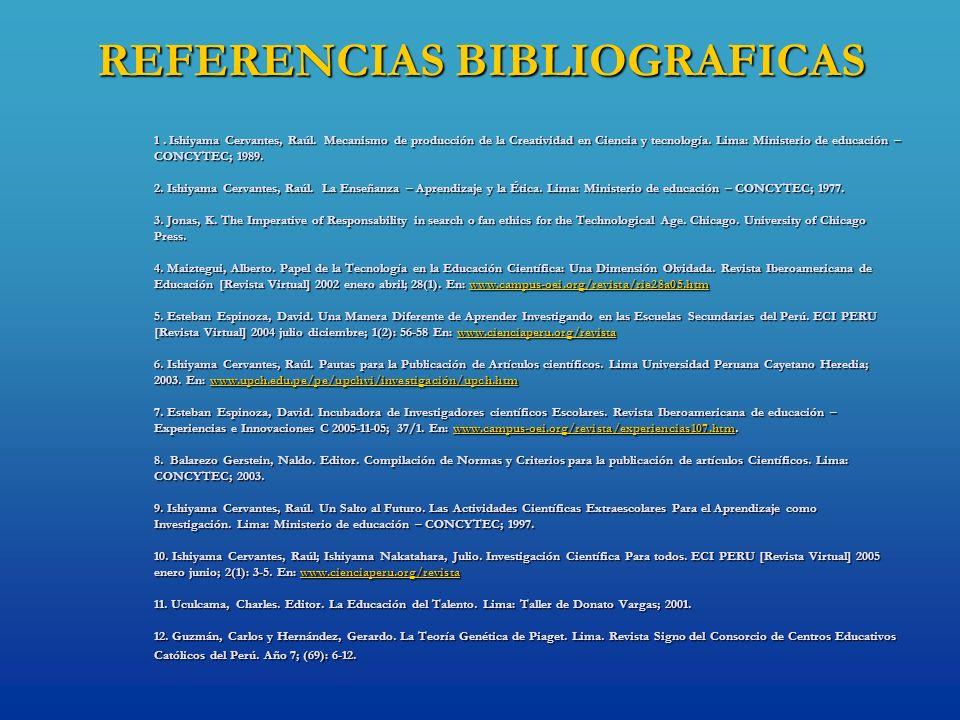 REFERENCIAS BIBLIOGRAFICAS 1. Ishiyama Cervantes, Raúl. Mecanismo de producción de la Creatividad en Ciencia y tecnología. Lima: Ministerio de educaci