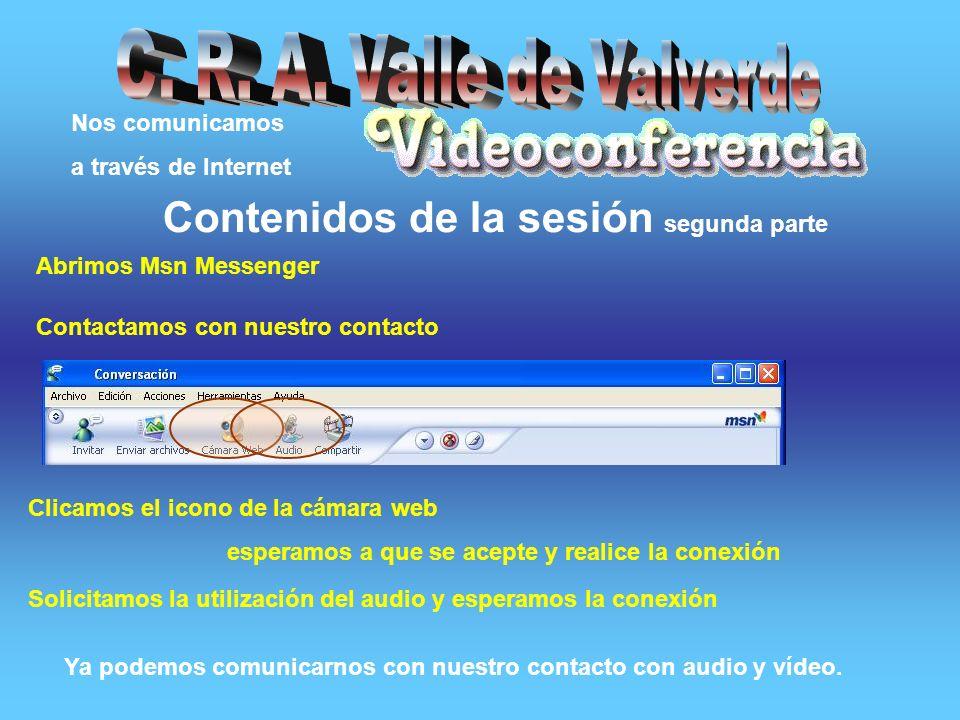 Nos comunicamos a través de Internet Contenidos de la sesión primera parte 1.Un PC 2.Cámara web 3.Equipo multimedia (altavoces y micro).