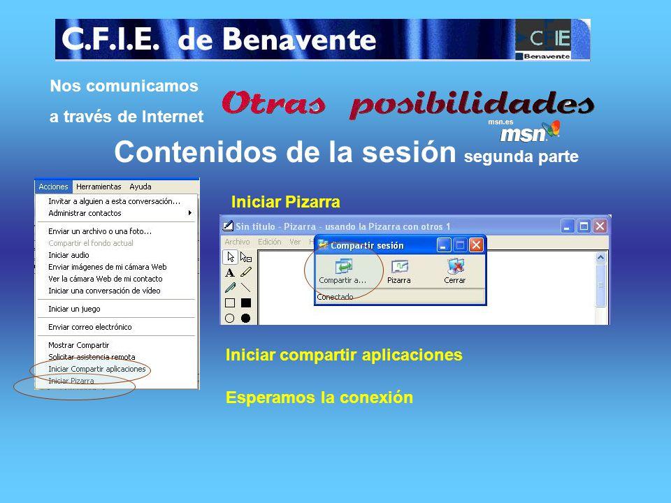 Nos comunicamos a través de Internet Contenidos de la sesión segunda parte Contactamos con nuestro contacto Clicamos el icono de la cámara web esperam