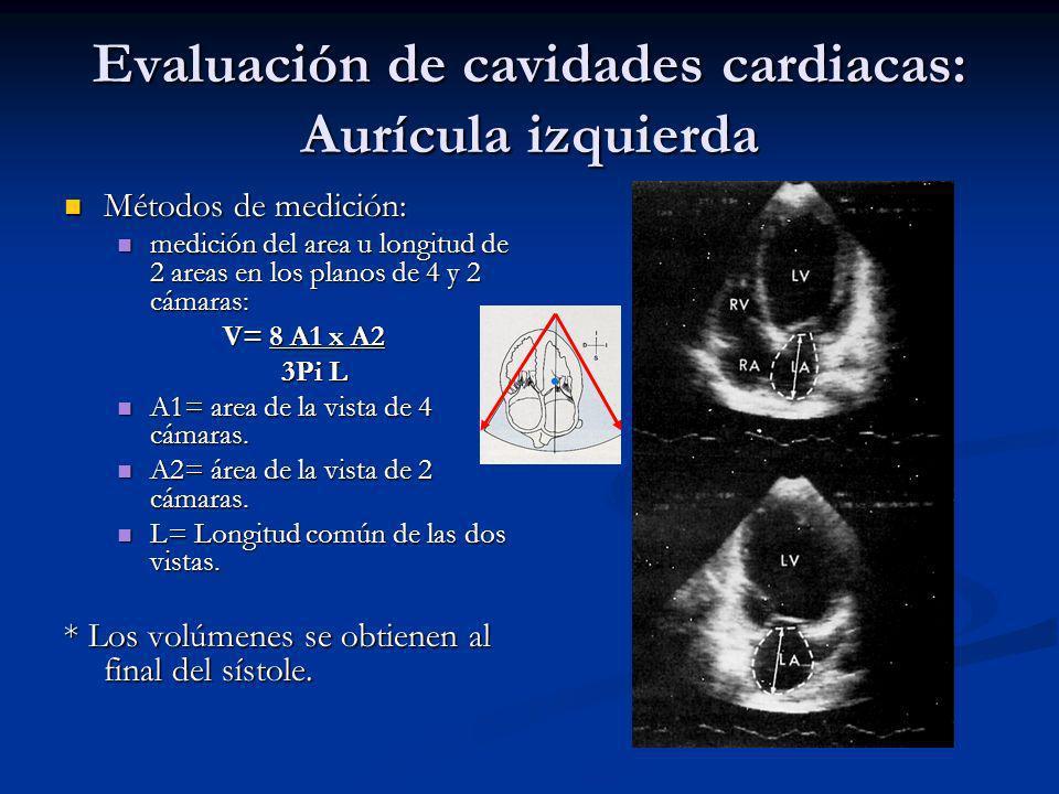 Evaluación de cavidades cardiacas: Aurícula izquierda Métodos de medición: Métodos de medición: medición del area u longitud de 2 areas en los planos de 4 y 2 cámaras: medición del area u longitud de 2 areas en los planos de 4 y 2 cámaras: V= 8 A1 x A2 3Pi L 3Pi L A1= area de la vista de 4 cámaras.