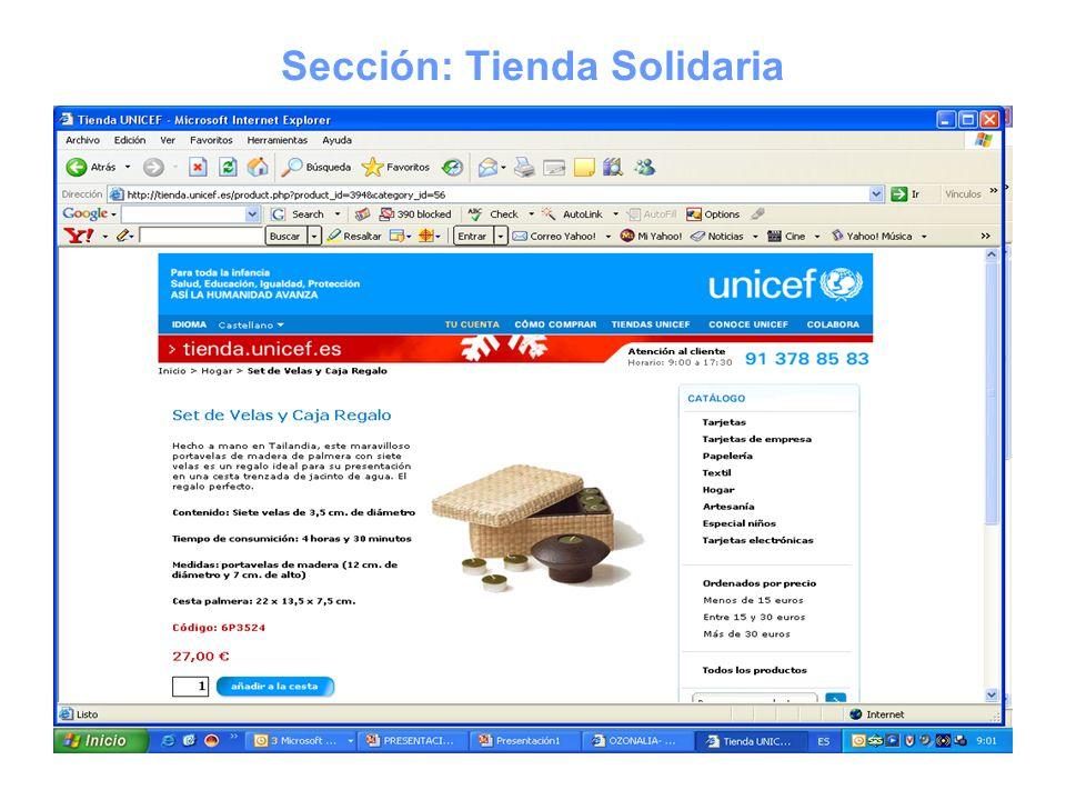 Sección: Tienda Solidaria