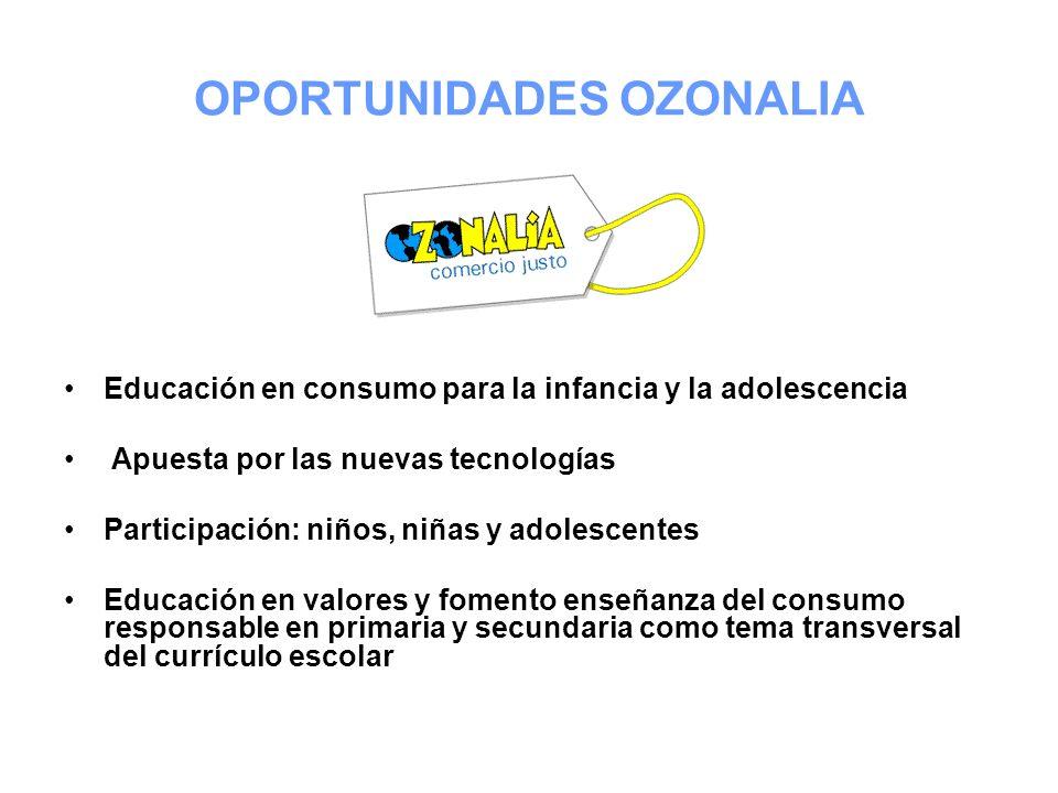 OPORTUNIDADES OZONALIA Educación en consumo para la infancia y la adolescencia Apuesta por las nuevas tecnologías Participación: niños, niñas y adoles