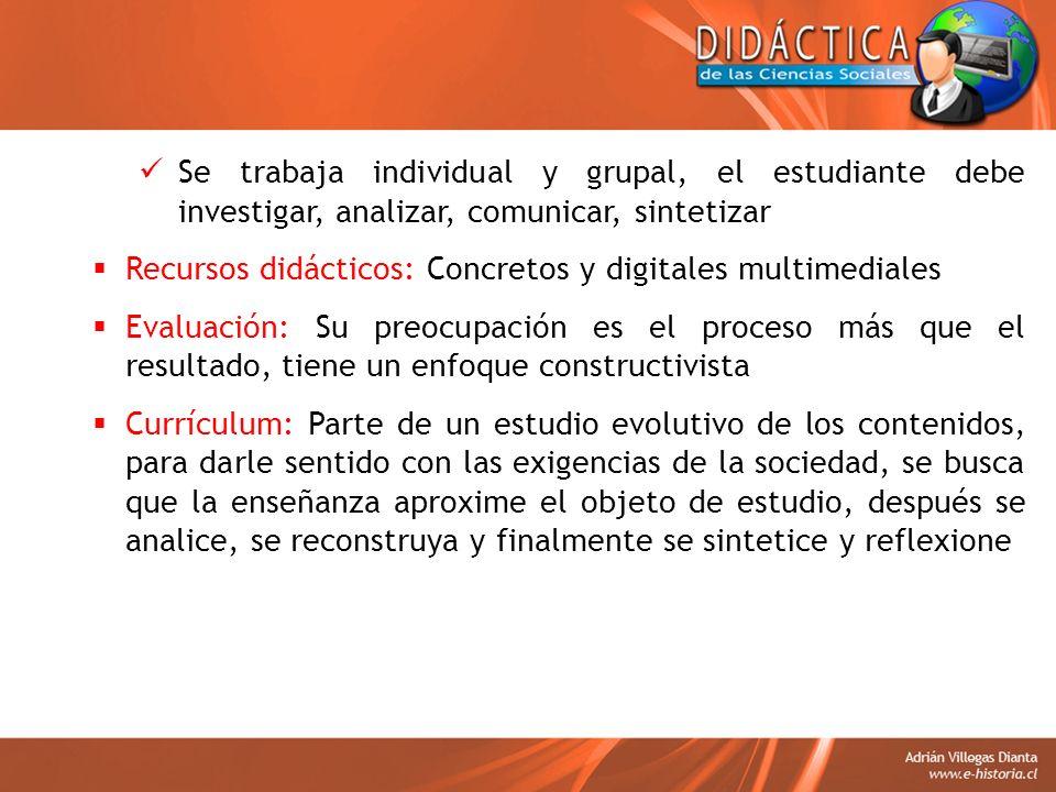 Se trabaja individual y grupal, el estudiante debe investigar, analizar, comunicar, sintetizar Recursos didácticos: Concretos y digitales multimediale