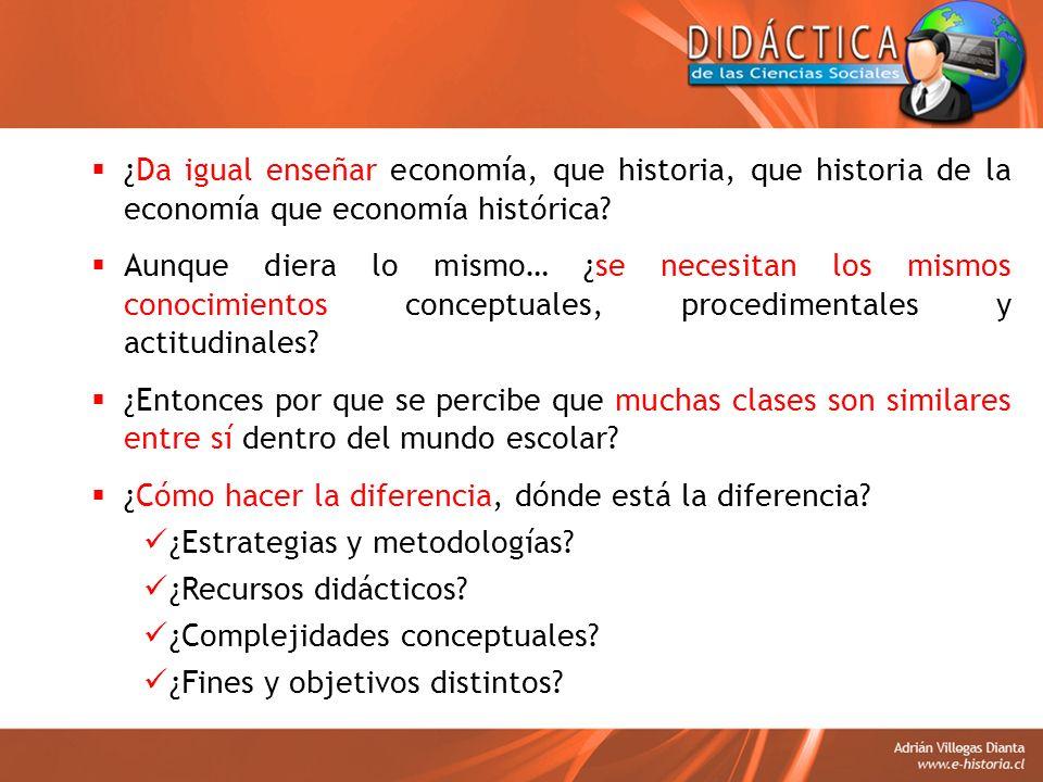 ¿Da igual enseñar economía, que historia, que historia de la economía que economía histórica? Aunque diera lo mismo… ¿se necesitan los mismos conocimi