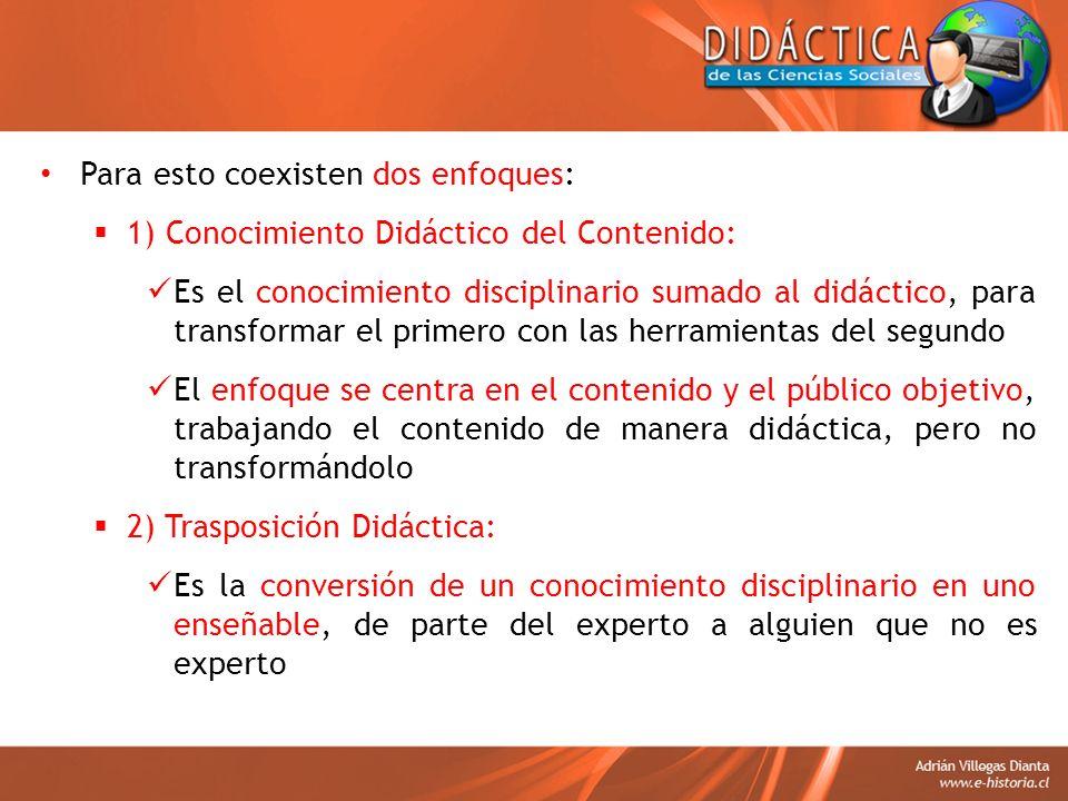 Para esto coexisten dos enfoques: 1) Conocimiento Didáctico del Contenido: Es el conocimiento disciplinario sumado al didáctico, para transformar el p