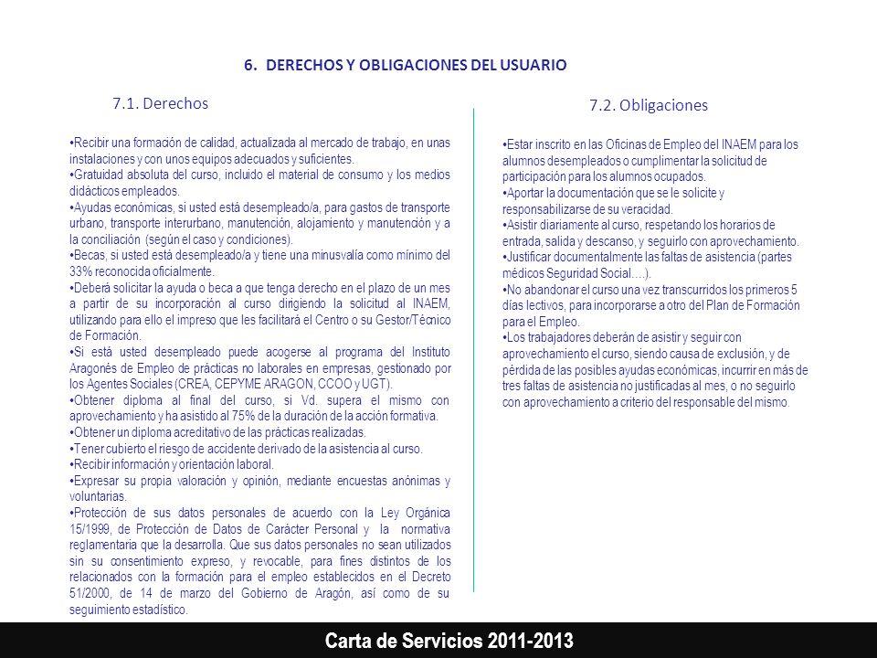 Carta de Servicios 2011-2013 6.DERECHOS Y OBLIGACIONES DEL USUARIO 7.1. Derechos Recibir una formación de calidad, actualizada al mercado de trabajo,