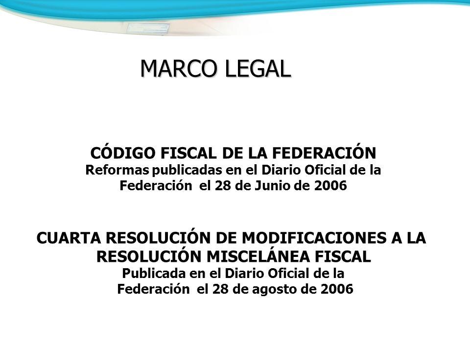 CÓDIGO FISCAL DE LA FEDERACIÓN Reformas publicadas en el Diario Oficial de la Federación el 28 de Junio de 2006 CUARTA RESOLUCIÓN DE MODIFICACIONES A