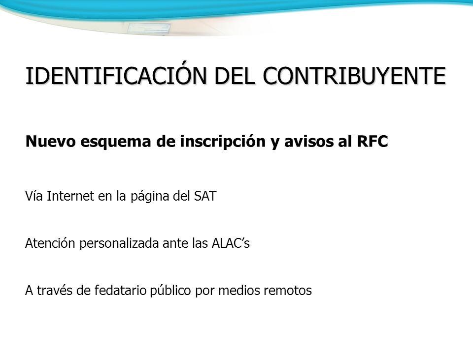 IDENTIFICACIÓN DEL CONTRIBUYENTE Nuevo esquema de inscripción y avisos al RFC Vía Internet en la página del SAT Atención personalizada ante las ALACs A través de fedatario público por medios remotos