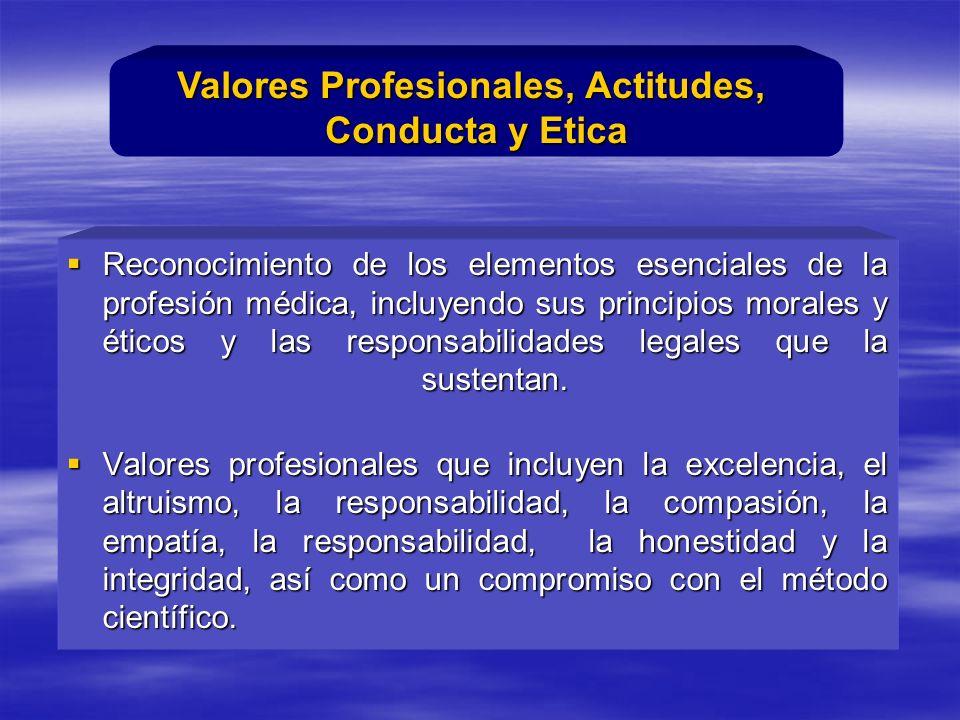 Reconocimiento de los elementos esenciales de la profesión médica, incluyendo sus principios morales y éticos y las responsabilidades legales que la sustentan.