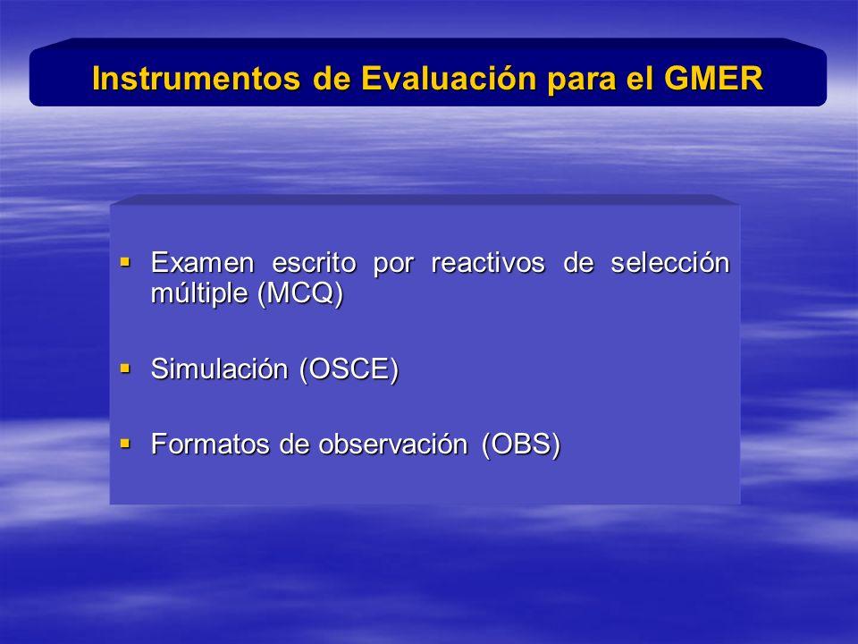 Examen escrito por reactivos de selección múltiple (MCQ) Examen escrito por reactivos de selección múltiple (MCQ) Simulación (OSCE) Simulación (OSCE) Formatos de observación (OBS) Formatos de observación (OBS) Instrumentos de Evaluación para el GMER