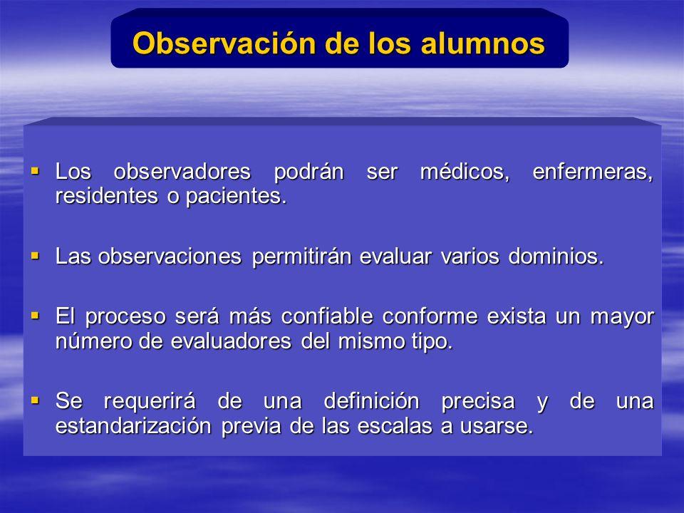 Los observadores podrán ser médicos, enfermeras, residentes o pacientes.